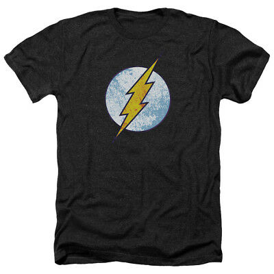 THE FLASH NEON DISTRESSED LOGO Adult Heather T-Shirt All Sizes