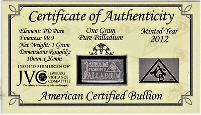JVC/ACB ONE GRAM PURE PALLADIUM Ingot Bar ORIGINAL ASSAYER'S CAPSULE (2012)