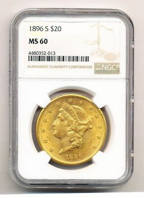 1896-S $20.00 Liberty Head Gold Ngc Ms 60