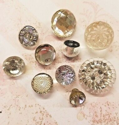 10 Vintage Glass Buttons Clear W/ Mirror Backs, Painted Backs-Paperweight Style