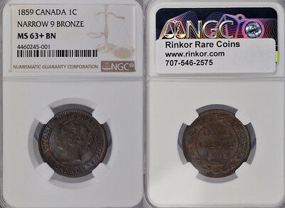 1859 Ngc Ms63+ Bn Canada One Cent Bronze Coin W/ Narrow 9 !!! Excellent Coin !!!