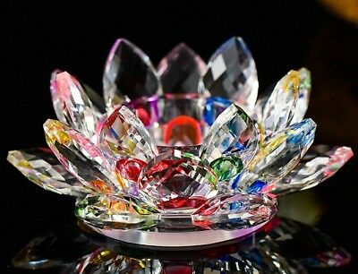 Candle Holder, Crystal Rainbow Lotus Flower, Tea or Pillar Candle, Real Crystal
