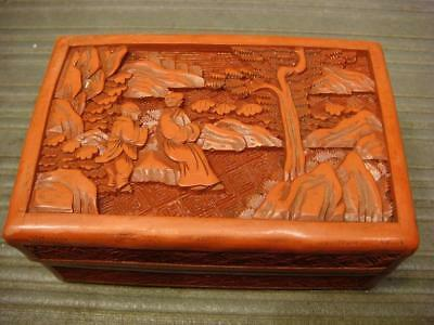 Chinese Cinnabar Box with figures