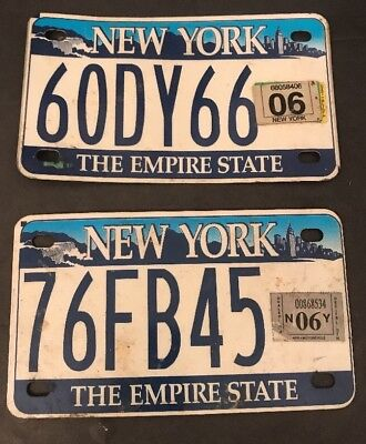 2X New York Motorcycle License Plate NYC Skyline & Niagara Falls 2001-2010