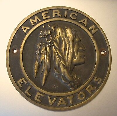 RARE Vintage AMERICAN ELEVATORS Brass Wall PLAQUE Chief Warrior SIGN Nameplate