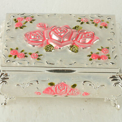 Chinese Exquisite Cloisonne Handmade Carved Rose Flower Jewelry Box JTL3012