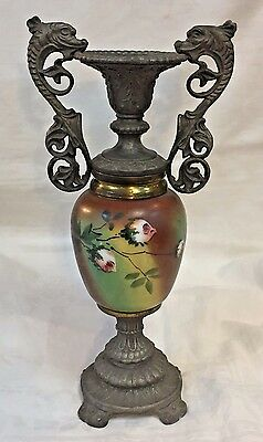 Victorian Hand Painted Porcelain Amphora Candlestick with Metal Dolphin Handles