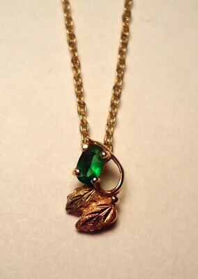 New Black Hills Solid Gold Necklace with Green Stone and Chain