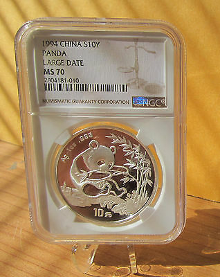 1994 Silver China Panda S10Y - Large Date - Ngc Ms 70 / Ms70