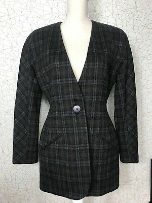 Tracy Reese MAGASCHONI Long Tunic Boyfiend Blazer Lambswool Cashmere Plaid Sz 6