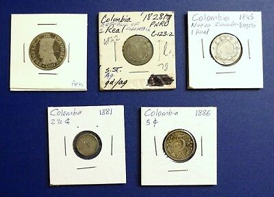 Lot of 5 1800's Colombia Coins  1821 1828 1845 1881 1886 Real Cents 2 1/2 Silver