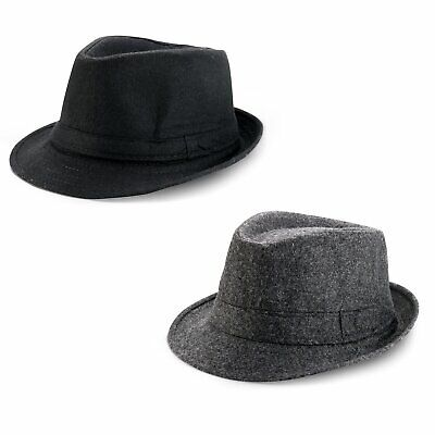 Men's Women's Classic Thick Short Brim Manhattan Gangster Trilby Cap Fedora Hat