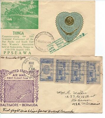 USA - FLIGHT COVER - 1938 and TONGA - FDC from 1964