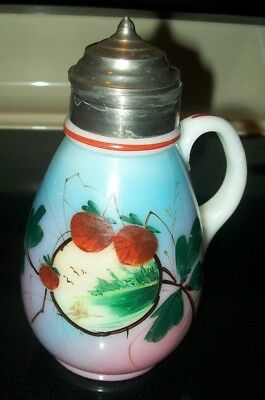 SAVE $20! ANTIQUE 1800s MUFFINEER SYRUP PITCHER HAND PAINTED GLASS W/STAMPED LID