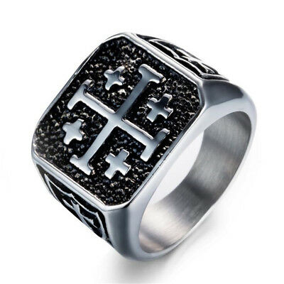Men's Vintage Titanium Steel Crusader Jerusalem Cross Knight Templar Ring 7-13