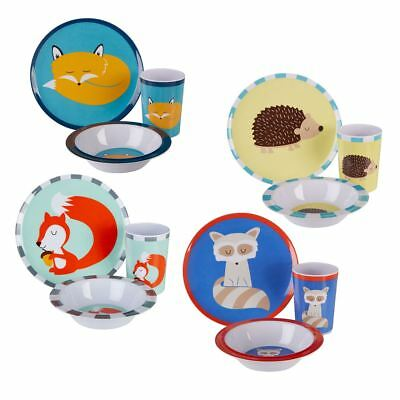 Mimo Kids Dinner Set 3 Piece Scratch-resistant Plastic Plate, Bowl, Tumblers Cup
