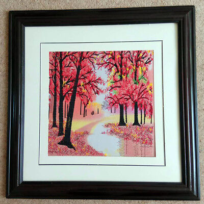 """W02 - """"The Forest and river"""" Chinese embroidery Painting With framed *UK STOCK*"""