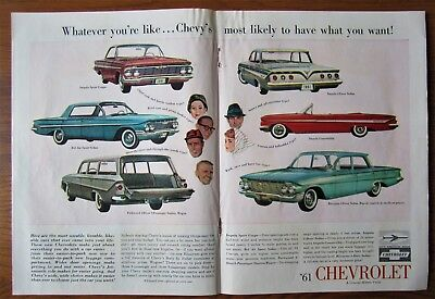 1961 Canadian Chevrolet Chevy Car Ad Impala Bel Air Parkwood Convertible
