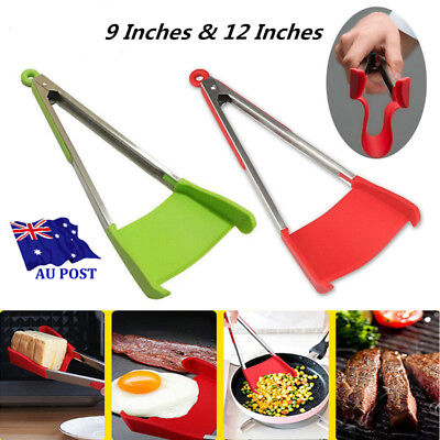 2018 Clever Tongs 2-in-1 Kitchen Spatula And Tongs Non-Stick Heat Resistance MN