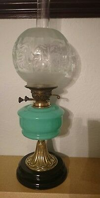Superb Antique Turquoise Font On A Ceramic Oil Lamp Base