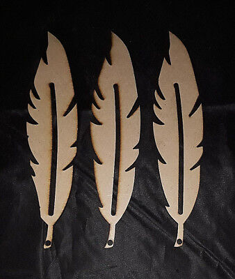 3 x 15cm Wooden Feathers - Wood Shape Feathers