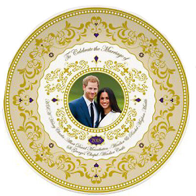 Royal Wedding Prince Harry Meghan Markle 24 Carat Gold Gilded 15 cm Plate