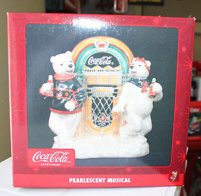 Vintage Coke Coca Cola Pearlescent Musical Figure Polar Bears Jukebox New in Box