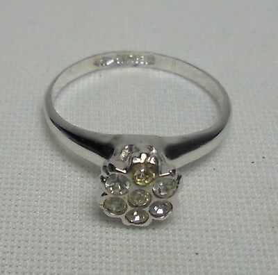 Vintage Sterling Silver Ring With Crystal Color Stone 925 Size 7.25
