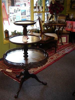 Antique Highly Carved Mahogany 3 Tier Table Dumb Waiter Rare