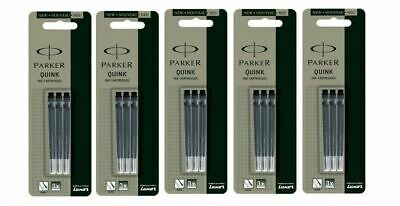 15 x Parker BLACK Ink Cartridge / Refills For Ink / Fountain Pen Vector Frontier