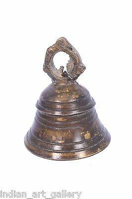 Rare Vintage Handicraft High Age Brass Ritual Temple Bell, Good Sound. i9-32