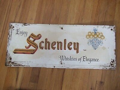 "Vintage 1940's Schenley Whiskey Bar Tavern Gas Oil 30"" Embossed Metal Sign"
