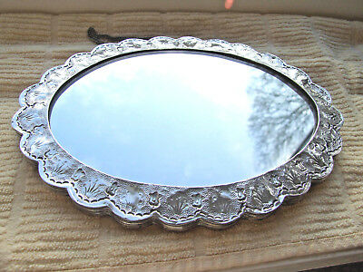 Small Antique Oval Scallop edge Turkish Silver Wedding Mirror, Wall hanging