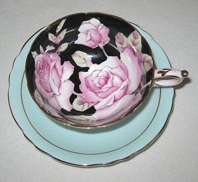 Pargaon Cup and Saucer Pink Roses on Black Background Queen Mary