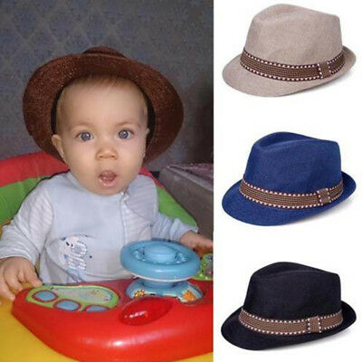 40d82253746 Baby Girl Boy Toddler Kid Cap Fedora Hat Jazz Cap Photography Cotton Trilby  Top