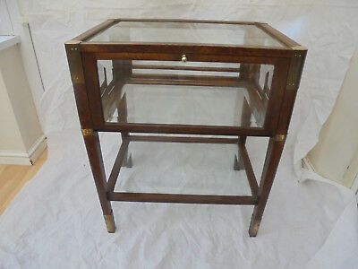 Antique Oak framed/bevelled glass/4 drop door Haberdashery/display cabinet/table