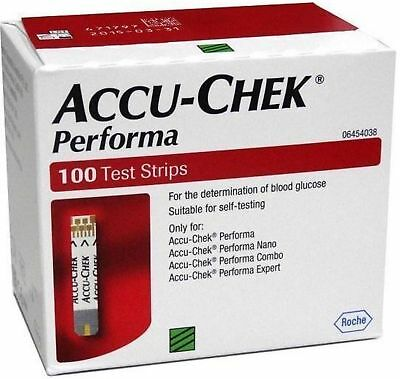 Accu-Chek Performa 100 Test Strips,Glucometer Blood glucose Exp 30 APRIL 2020