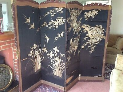STUNNING VICTORIAN FOUR-FOLD DRESSING SCREEN Gold Thread Embroidery on silk