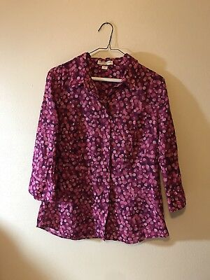 Coldwater Creek Small Blouse No Iron Magenta/Purple Print Cotton 3/4 Sleeves