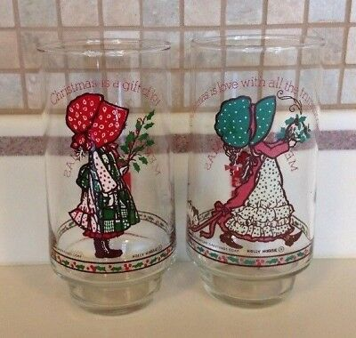 Vintage Holly Hobbie Coca-Cola Christmas Glasses American Greetings Limited Ed