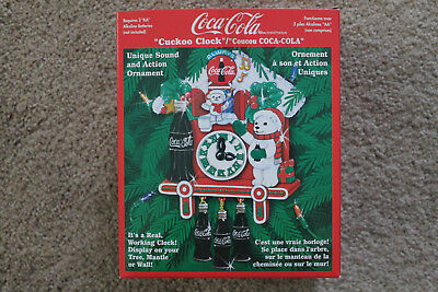 NEW IN BOX Coca Cola Cuckoo Clock - Vintage Coke NOS Christmas 1998 Bears
