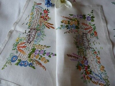 Vintage Hand Embroidered Tray Cloth - Stunning Embroidery/country Cottage Garden