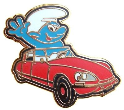 Smurf Drives The French Classic Citroen Ds Enamel Pin Smurfs De Gaulle
