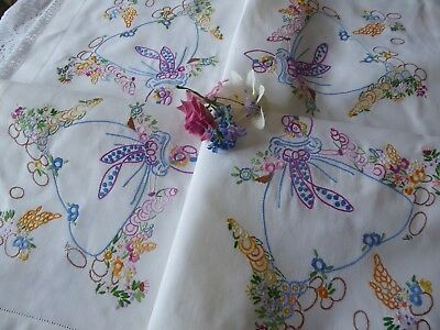 Vintage Hand Embroidered Tablecloth/ Beautiful Crinoline Ladies & Flower Gardens