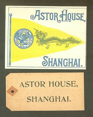 1906 Astor House, Shanghai, China, Dragon Luggage Label and Luggage Tag