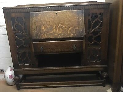 Attractive Vintage Wooden Writing Desk or Bureau with lockable cabinets