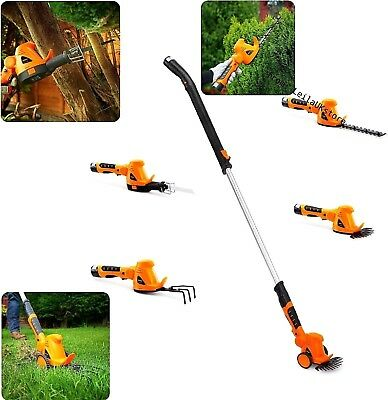 Set of 4 Cordless Garden Patio Hedge Bush Saw Grass Trimmer Cultivator Multitool