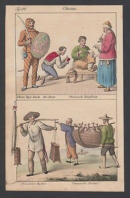 1830 China Asien Asia Trachten costumes Lithographie lithograph