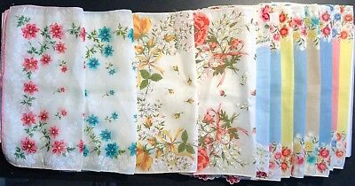 (12) Vintage Ladies  Floral Handkerchiefs  As Pictured