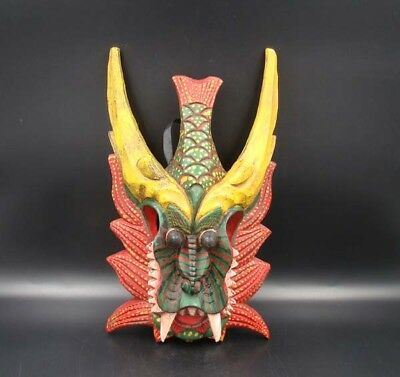 330mm Handmade Carving Painting colored drawing wood Mask Dragon Fish Deco Art